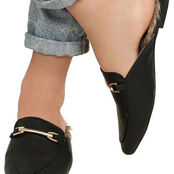 Brixy Black Faux Fur Loafer Slides
