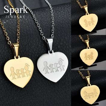Personalize Name Lovely 316L Stainless Steel Family Pendant Necklace For Mom Dad Son Daughter Love Heart Link Chain Necklace