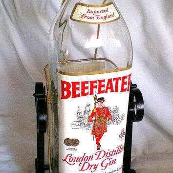 Oversized BEEFEATER London Dry Gin Empty Bottle Advertising Bottle Black Swing Stand Bar Memorabilia Glass Bottle Man Cave Made in London