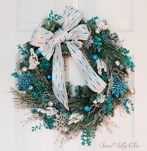 Blue And Silver Christmas Wreath Front From Sweetsillychic On