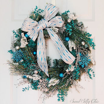 Blue and Silver Christmas Wreath, Front Door Wreath, Winter Holiday Wreath, Blue Silver Glittery Wreath, Indoor Wreath, Wedding