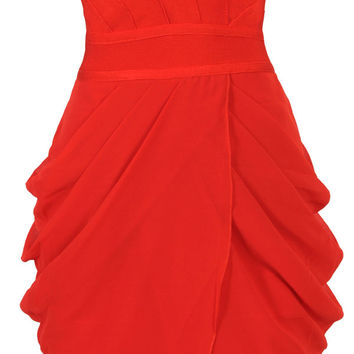 Clothing : Bandage Dresses : 'Corey' Red Strapless Drape Bandage Dress