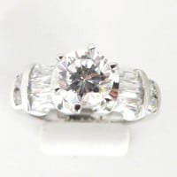 Vintage CZ Engagement Ring - Sterling Silver Size 5