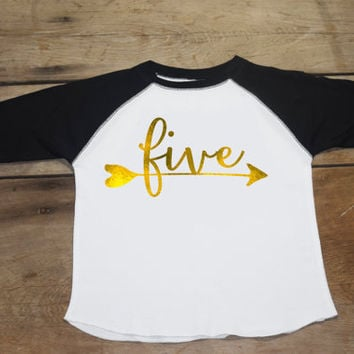Girls Five Birthday Shirt