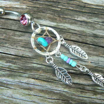 turquoise beaded center dangle dreamcatcher belly ring turquoise and amethyst in native tribal boho belly dancer and hipster style