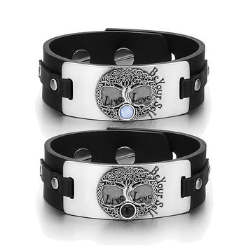 Tree of Life Celtic Powers Love Couples Blue Simulated Cats Eye Simulated Onyx Black Leather Bracelets