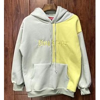 """Supreme"" Contrast Color Couple Embroidery Casual Letter Print Velvet Long Sleeve hooded Pullover Sweatshirt Top Sweater hoodie Grey Yellow I-YQ-ZLHJ"