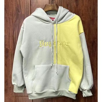 """""""Supreme"""" Contrast Color Couple Embroidery Casual Letter Print Velvet Long Sleeve hooded Pullover Sweatshirt Top Sweater hoodie Grey Yellow I-YQ-ZLHJ"""