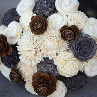Leah Custom Bouquet :: Large Park City Bouquet :: Remove Gray Flowers and Pine Cones and replace with Light Purple and Blush Pink Sola Wood
