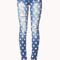 Destroyed Polka Dot Skinny Jeans