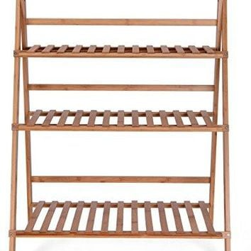 Flower Plant  Stand Rack Bamboo Shelf 3-tier Foldable Shelves Pot Racks Planter Organizer Display Shelving Unit,Completely Assembled