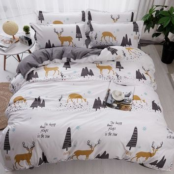 White Duvet Cover+Pillowcases Deer tree Cartoon Kids Adults Bedding Sets Twin Full Queen King Size bed flat sheet new bedclothes
