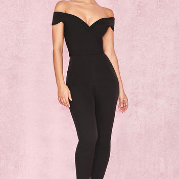 Clothing : Jumpsuits : 'Bella' Black Off Shoulder Jumpsuit