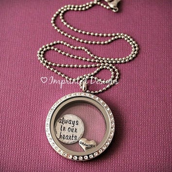 Floating Locket - Living Necklace - Remembrance Locket - Always In Our Hearts