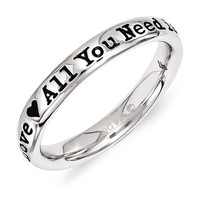 Sterling Silver Stackable Expressions Lyric 'All You Need Is Love' Ring