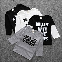 Baby boys clothes cotton letter sweatshirt smile tees kids baby clothing baby girls tops kids clothes