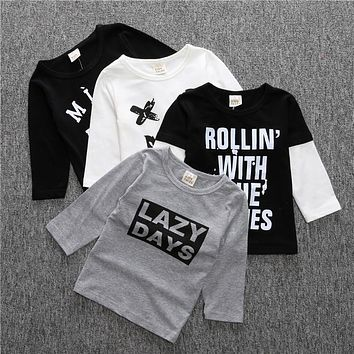 SY095 Spring autumn baby boys clothes cotton letter sweatshirt smile tees kids baby clothing baby girls tops kids clothes