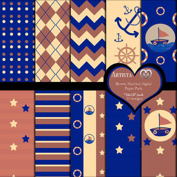 Brown Nautical Digital Scrapbook Paper Pack Premade Pages 12x12 Instant Download