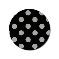 Mouse Pad mousepad / Mat - round - Shiny silver polka dots on black- Computer Accessories Geekery Custom Desk Coworker Gifts Office Gifts