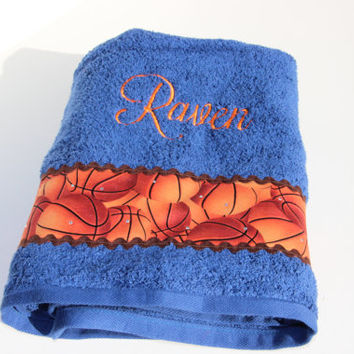 "Custom ""Raven"" Basketball Towel READY TO SHIP"