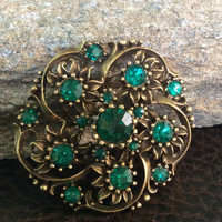Green Coro Brooch, Green Flower Brooch signed Coro, Rhinestone Wedding Accessory