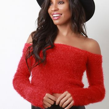 Fuzzy Knit Long Sleeve Bardot Crop Top