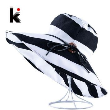 PEAP78W Women's Wide Brim UV Protection Beach Hats Stripe Bowknot Button Summer Sun Visor Caps For Women Floppy Bucket Chapeu Feminino