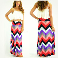 Sunset Waters Gray Chevron Maxi Skirt