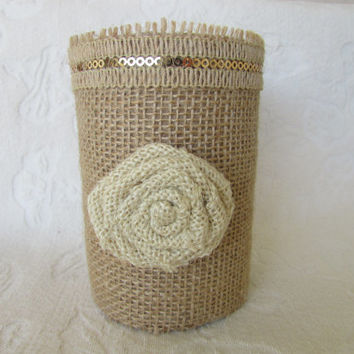Burlap Wedding Guest Sign In Pen Pencil Holder Organizer Burlap FLower Desk Organizer