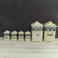 Kitchen Canisters/ Canister Set/ Czech Pottery/ Czech Canisters/ Spice Containers/ Spice Jars/ Tea Canister/ Czech Canister Set
