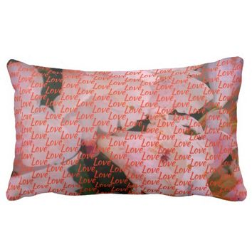 Cool white and Pink flower textured background Lumbar Pillow