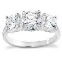 Sterling Silver Round Cut Three-Stone Cubic Zirconia Ring (2.3 cttw), Size 5