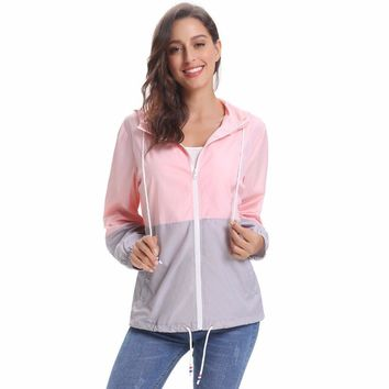 Rain Jacket, Waterproof Contrast Color Long Sleeve Raincoat Windbreaker Quick Dry Sports Outdoor Hoodie for Women Ladies Girls
