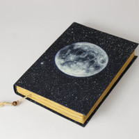 FULL MOON - journal, travel journal, book journal, antique diary, notebook, old lined paper