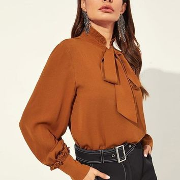 Rust Frill Detail Tied Neck Bishop Sleeve Blouse