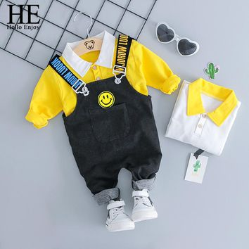HE Hello Enjoy Baby Boy Clothes Sets Newborn Outfits Autumn Long Sleeve Shirts Suspender Trousers Suits Boys Rompers 0-24M