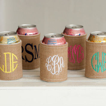 Monogrammed Coozie- burlap coozie, bridal party, summer, monogrammed gift,