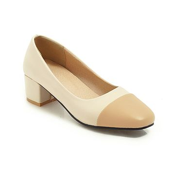 Thick-heeled Medium Heels Shallow Coloured Square Head Single Shoes Women Chunky Pumps