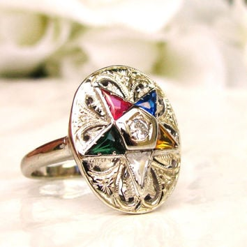 Vintage Order of the Eastern Star Scroll Filigree Diamond Ring Unique Ladies Masonic Ring Multicolored Stones 14K White Gold Ring Sz 6