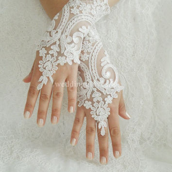 Byvivienne Original design //  Ivory or white Wedding gloves free ship bridal gloves lace gloves fingerless gloves french lace gloves