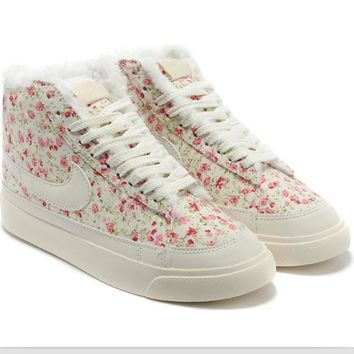 NIKE Women Men Running Sport Casual Shoes Sneakers high tops Plush shoes floral Beige