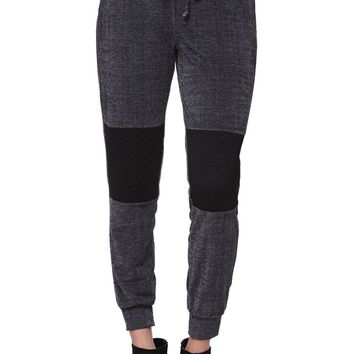 LA Hearts Quilted Knee Jogger Pants - Womens Pants - Gray