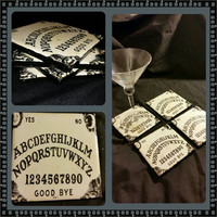 white ouija board ceramic drink coasters handmade halloween witch craft magic spooky