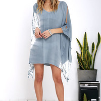 Colored Mist Blue Grey Tie-Dye Kaftan Top