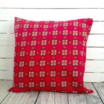 Cushion pillow cover, African wax print  (17 inch) Red