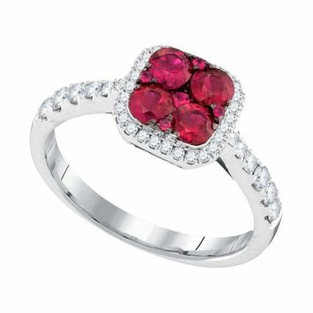 14kt White Gold Women's Round Ruby Square Frame Cluster Diamond Ring 1-1-10 Cttw -  FREE Shipping (US/CAN)