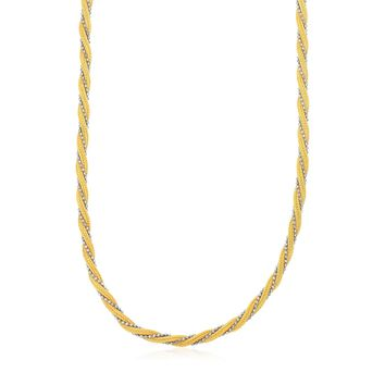 14K Two Tone Gold Textured Twisted Multi-Strand Chain Necklace