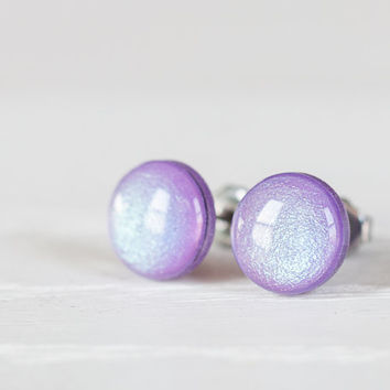 Iridescent Violet Shimmer Post Earrings - Hypoallergenic Studs