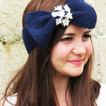 Knitted Bow Headband, Wide Bow Ear Warmer, Women's Fashion Accessory, Fall Headband, Best Seller, Knotted Bow Headband in Navy
