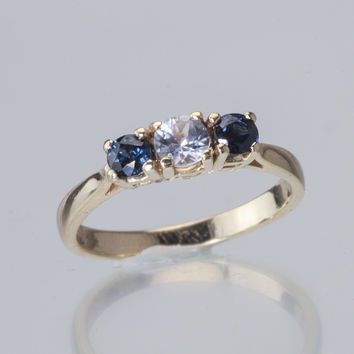 Sapphire and Diamond 3 Stone 14kt Gold Ring